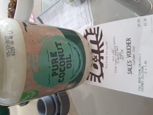 Pure coconut oil 500ml jar B&M