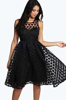 Boutique Lola Organza Polka Dot Skater Dress was £30+ Del now £13 inc Next Day Delivery @ Boohoo (with code)