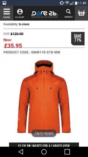 Stalwart Waterproof Jacket - Pumpkin Orange was £120!!! now £35.95 + £3.95 del @ Dare2b