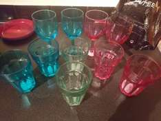 coloured glassware from tesco - 50p/70p each