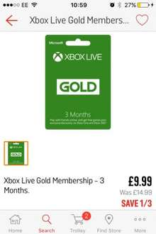 Xbox live gold - 3 months £9.99 reduced from £14.99 in store or reserve for collection Argos
