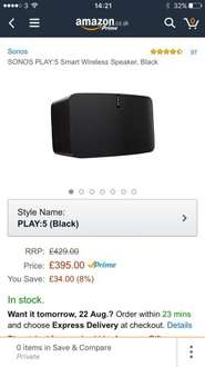 SONOS PLAY:5 Second Generation Smart Wireless Speaker, Black at Amazon for £395