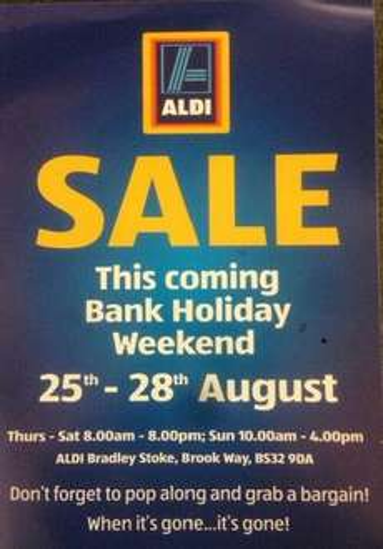 Car park sale ALDI Bradley Stoke Bristol Bank holiday weekend