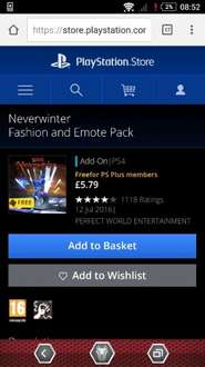 Neverwinter PS4 Fashion & Emote pack FREE for PS Plus members rrp £5.79