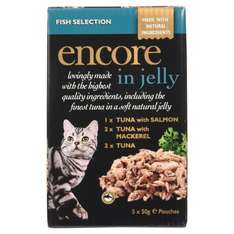 Encore Cat Food Pouch Fish Selection, 5 x 50g, Pack of 4 @ Amazon £2.50 Add On Item