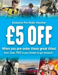Smyths - FIFA, Battlefield, Call of Duty, etc. - £5 off Pre-order Games - XBox 1 and PS4