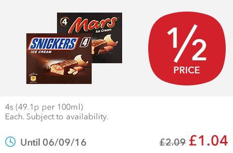 Mars Ice Cream Bars ((4 x 51ml) & Snickers Ice Cream Bars (4 x 53ml) was £2.09 now £1.04 @ Co-op Food Stores