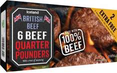 Iceland 100% British Beef Quarter Pounders (6 including 2 Free = 681g) ONLY £2.00 @ Iceland