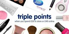 Boots Triple Points starts Today (until 31.8.2016) with £30 in store or £40 online spend.