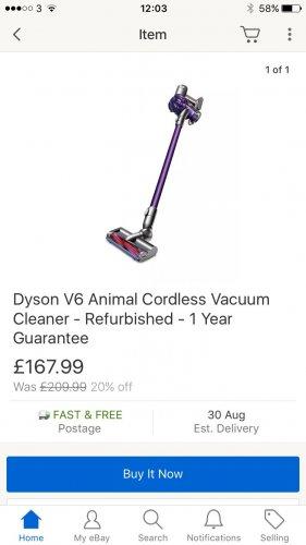 Dyson v6 animal refurb at Dyson Ebay Outlet for £167.99