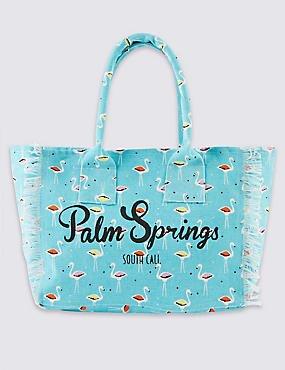 Kids Pure Cotton Flamingo Print Shopper Bag was £12 now £4 C+C @ M&S