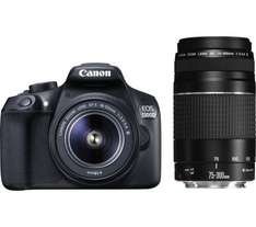 CANON EOS 1300D DSLR Camera with 18-55 mm DC III Zoom Lens and EF 75-300 mm f/4.0-5.6 III Telephoto Zoom Lens - Black £348 delivered @ Currys