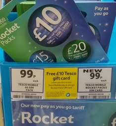 Free £10 gift card with Tesco Rocket Pack SIM with 500min, 5000texts, 500MB