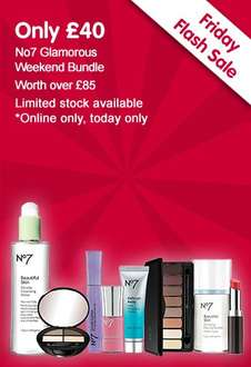 No7 Glamorous Weekend Bundle (worth £89.95) now £40 + Triple Points (Today Only) C+C @ Boots (Buy 2 for £72 Del with code)