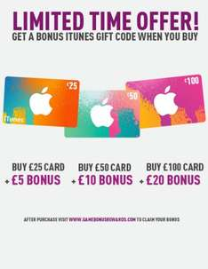 Get extra iTunes credit when you buy a £25, £50, or £100 iTunes voucher from GAME!