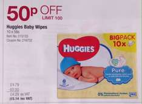 Huggies baby wipes x10 big pack £5 at Costco