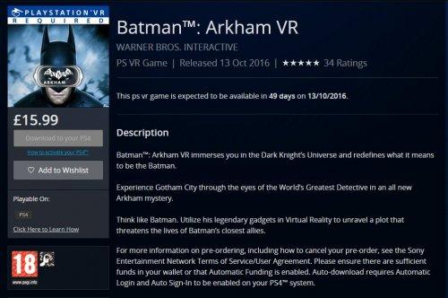 Batman Arkham VR PlayStation 4 £15.99 PlayStation Store