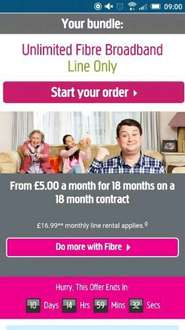 Plusnet unlimited 38mb fibre broadband £5 a month - 18mth contract