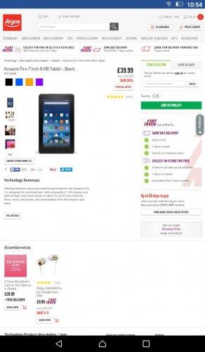 Amazon Fire 7 Inch 8GB Tablet - Black £39.99 @Argos