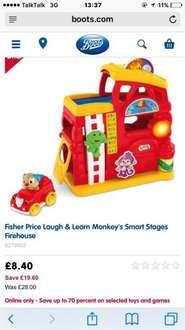fisher price laugh & learn monkey smart stages firehouse - was £28 now £8.40 at boots