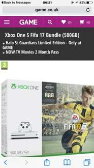 Xbox one s 500gb fifa 17 bundle + halo 5 guardians limited edition + now tv 2months movie pass + 1month ea access £259.99 at game
