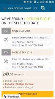Belfast to Ibiza return flights was £49, Now £29! 5th -12th September @Thomson