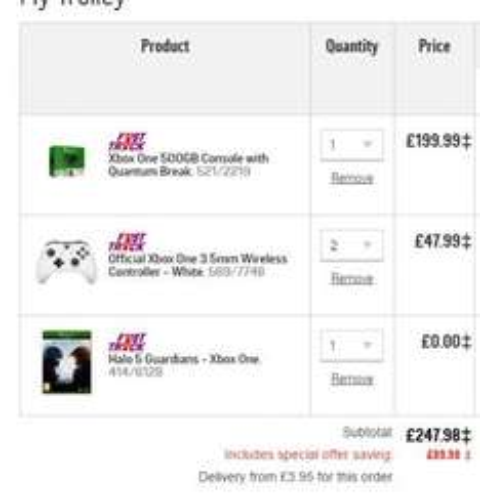 Xbox One 500gb + 2x white controllers + Halo 5 Guardians + Quantum Break + £20 voucher at Argos for £247.98
