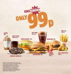 Various offers @ BURGER KING for 99p!