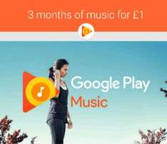 FIRST 3 MONTH FOR £1 GOOGLE PLAY MUSIC (MILLIONS OF SONGS)