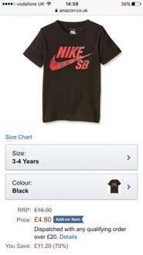 Boyd Nike t shirt size 3-4 years £4.80 Amazon (add on item)