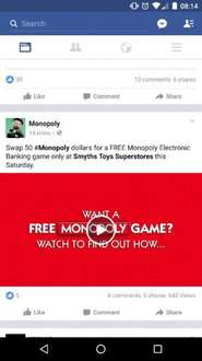 Free Electronic Banking Monopoly Board (when you hand in a 50 monopoly note) @ Smyth's Toys from Saturday 3rd