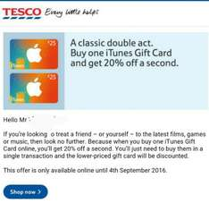 iTunes Gift Card: 20% off second GC at Tesco (online only)