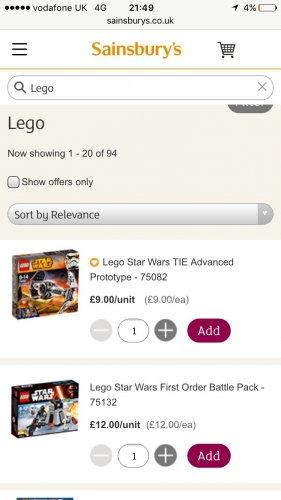 Lego 75082 tie advanced prototype at Sainsbury's for £9