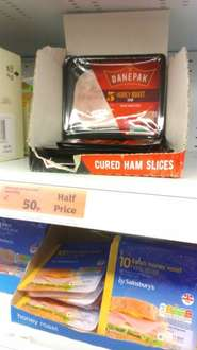 Danepack Honey Roast Ham 5 slices,  100g in half price 50p Sainsburys