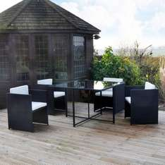 Rattan Effect Cube Table and 4 Chairs Garden Set £99.99 @ Co-Op