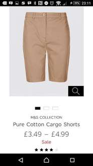 £3.49 for ladies Cotton cargo shorts M&S - lots of sizes