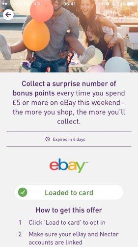 Bonus Nectar Points (between 100-250 bonus) on eBay with £5 spend or more