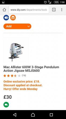 mac Allister 600W jigsaw, £18 @ B&Q
