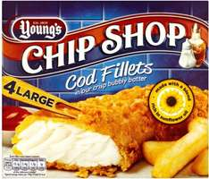 Young's Chip Shop Large Cod (54%) Fillets in our Crisp Bubbly Batter (4 Fillets = 480g) was £3.50 now 2 packets for £5.00 (8 battered Cod fish in total) @ Iceland