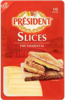 President Emmental Cheese Slices and Lighter Cheese slices (Pack of 10 = 200g) was £2.00 now £1.00 @ Ocado