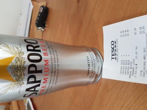 Sapporo Beer  650ml £1.40 @ Tesco