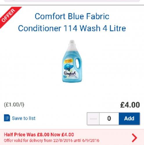 comfort fabric conditioner half price £4.00 for 4 litres 116 wash @ tesco