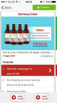 Old mout cider free with Shopitize in tesco £1.99. Claim £2 back.
