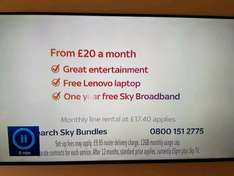 Free Lenovo Laptop with Sky packages over £20 (new customers only)