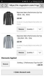 myprotein performance clothing for £20