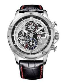 40% off Men's Sports Chronograph Watch with Black Leather Strap and Day Date Calendar £41.99 @ Amazon