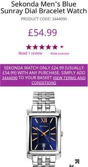 Reduced price Seconda Men's watch with any purchase at H Samuel £27.98