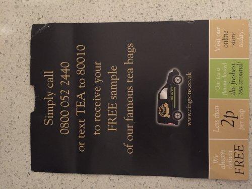 Free sample of Ringtons tea bags