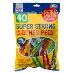 b&m - Wooden Clothes Pegs 60pk / Super Strong Clothes Pegs 40pk 10p CHESTER