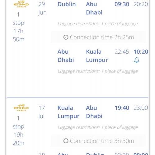 Ethiad Airways - Dublin to Kuala Lumpur June/July 2017 £329 pp